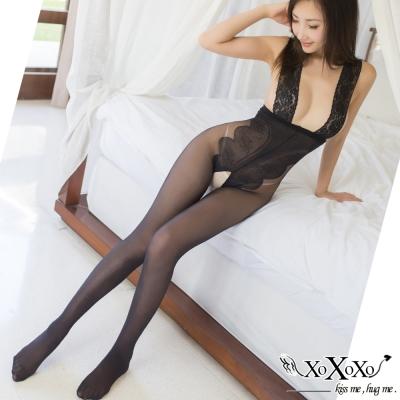 貓裝網衣 曲線誘惑蕾絲露背開襠連身絲襪 挑逗黑 XOXOXO