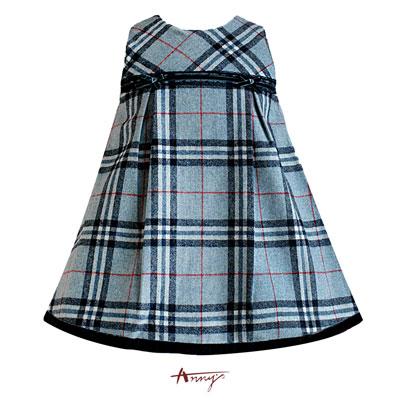 Anny經典格紋圓領蕾絲背心裙*4272藍