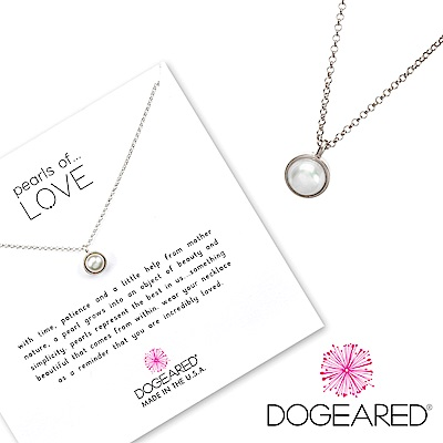 Dogeared pearls of love 白珍珠銀項鍊 小款 精緻包框設計