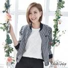 Victoria 格紋短版小外套-女-黑白