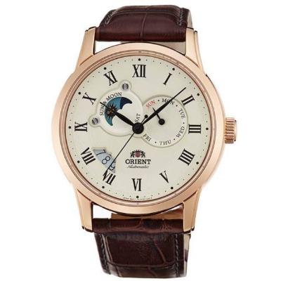 ORIENT 東方錶 三眼日月星辰 機械錶-米白X玫瑰金/41mm