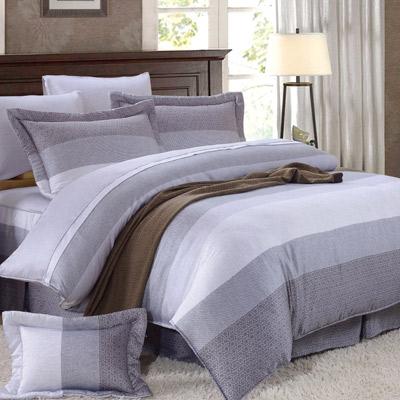 Saint Rose 麻趣部落-灰 加大100%純天絲全鋪棉床包兩用被套四件組