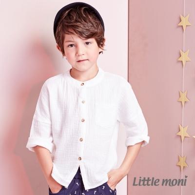 Little moni 百搭圓領素色純棉襯衫 (共2色)