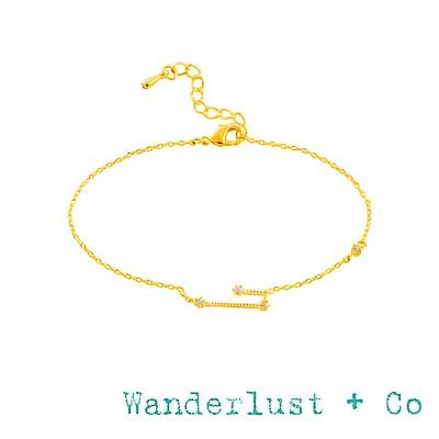 Wanderlust+Co 澳洲品牌 金牛座手鍊 金色鑲鑽手鍊 TAURUS