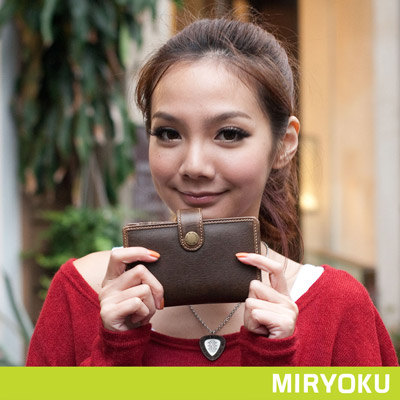 MIRYOKU-經典復古皮革系列-品味經典必備中夾-泥綠-共4色
