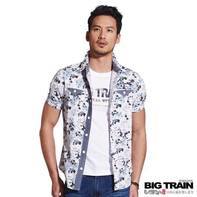 BIG TRAIN 日式和風短袖襯衫-男-白底藍草