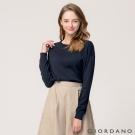 GIORDANO 女裝純棉寬鬆落肩圓領針織衫 - 66 標誌海軍藍