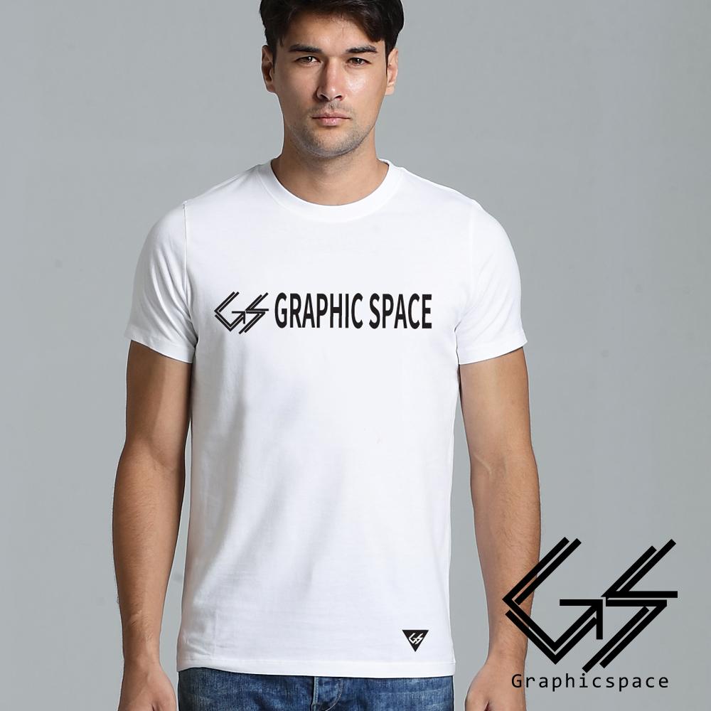 品牌LOGO字母印花磨毛水洗T恤 (白色)-GraphicSpace