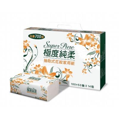 Super Pure極度純柔抽取式家用紙150抽14包/串