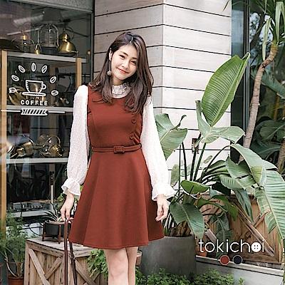 東京著衣 甜美裝飾鈕扣腰帶洋裝-S.M(共二色)