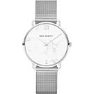 PAUL HEWITT 優雅大理石米蘭帶手錶-白X銀/33mm