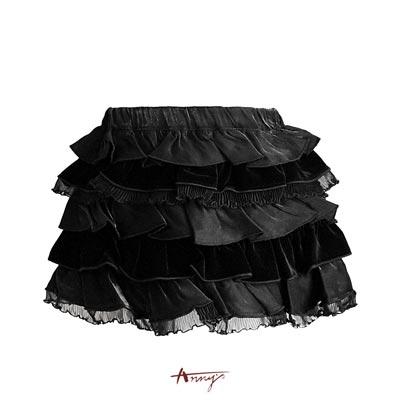 Anny質感絨質緞面網紗蛋糕短裙*1208黑