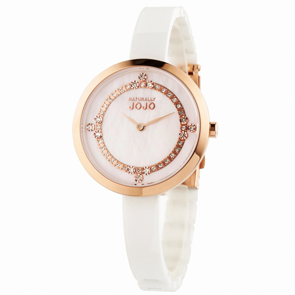 NATURALLY JOJO 閃耀焦點晶鑽陶瓷時尚腕錶-粉/33mm