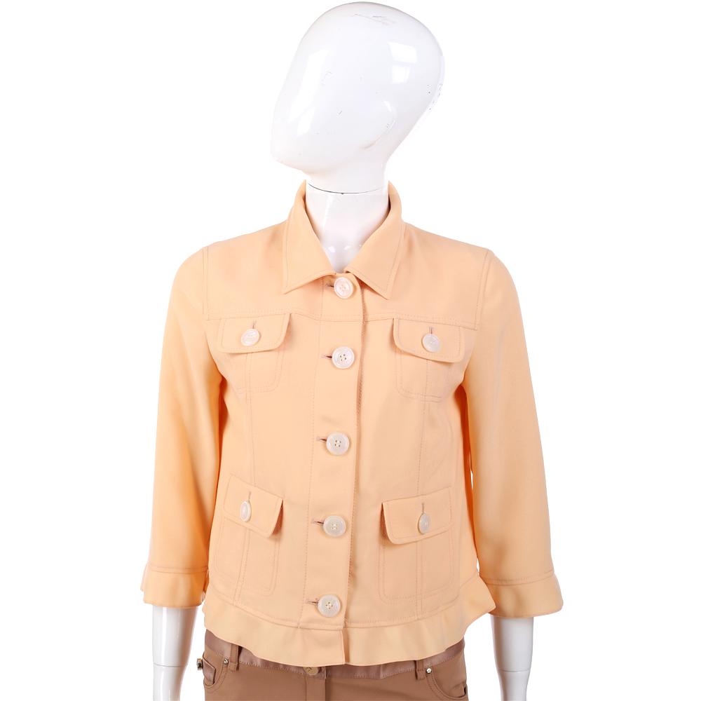 MOSCHINO 粉橘色雙口袋排釦設計寬版外套