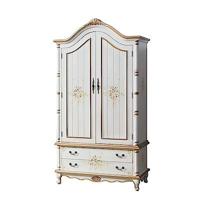 品家居 摩莉3.7尺實木開門二抽衣櫃-110x60x205cm免組