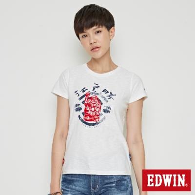 EDWIN EDO KATSU 江戶勝大黑天福神短袖T恤-女-米白