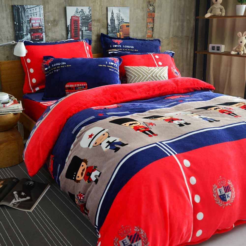 Ania Casa倫敦衛兵 加大四件式 超保暖法蘭絨 床包被套四件組