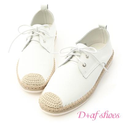 D+AF 休閒樂活.真皮草編風綁帶小白鞋*白
