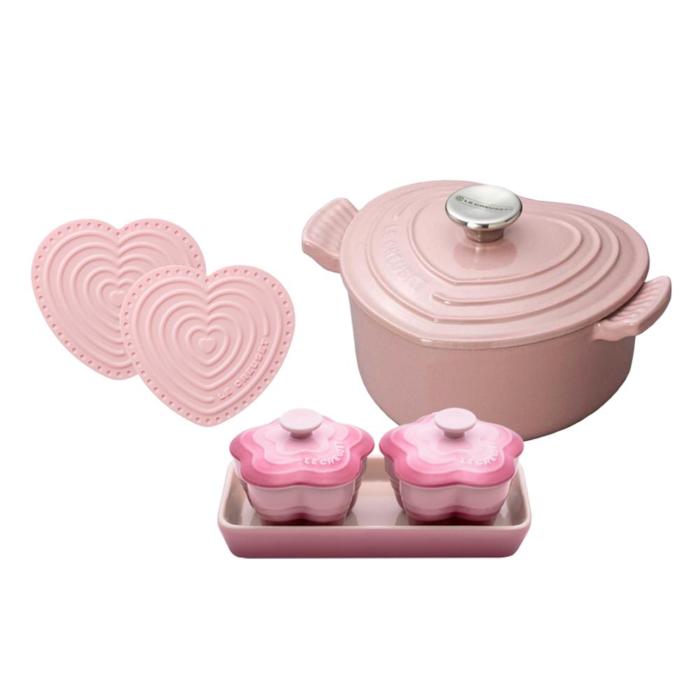 LE CREUSET 愛心鐵鍋16cm 鋼頭+迷你愛心隔熱墊 2入+花型烤盅組 2入