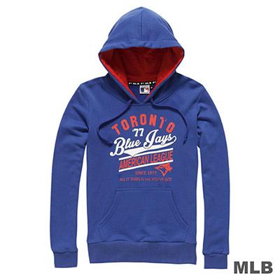 MLB-多倫多藍鳥隊運動風印花連帽長袖厚T恤-藍 (女)