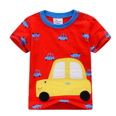 上衣 男童 微笑車 歐美經典兒童純棉短袖T恤