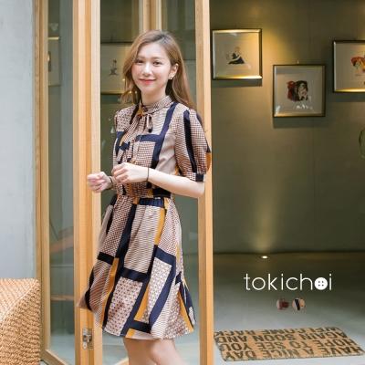 東京著衣 韓國同步時尚幾何印花洋裝-S.M(共二色)