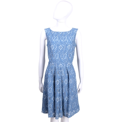 TRUSSARDI-JEANS 藍白色織花蕾絲抓褶無袖洋裝