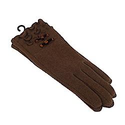 CLATHAS 安哥拉混羊毛絲絨蝴蝶結觸控手套(咖啡)