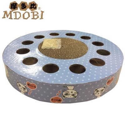 MDOBI摩多比-貓丸家 瓦楞紙 貓咪玩具盒-圓型貓咪戳戳樂