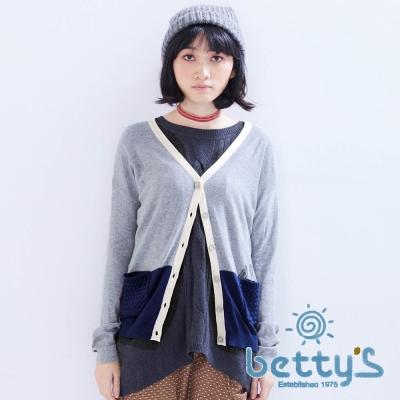 betty's貝蒂思 可愛插圖毛線編織口袋細針織衫(灰色)