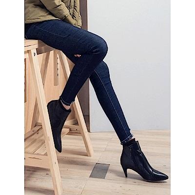 縫線配色造型微彈破損襬造型牛仔長褲.2色-OB嚴選