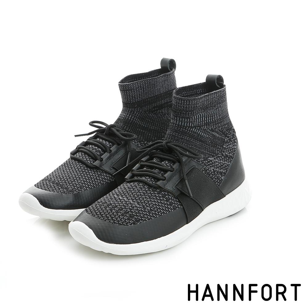 HANNFORT ICE高筒編織襪套式氣墊鞋-女-率性黑
