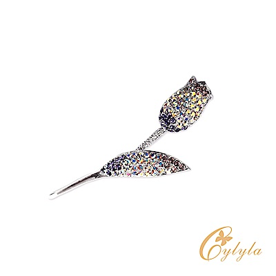Cylyla思琳娜 施華洛世奇元素鬱金香白水晶胸針別針B10795G