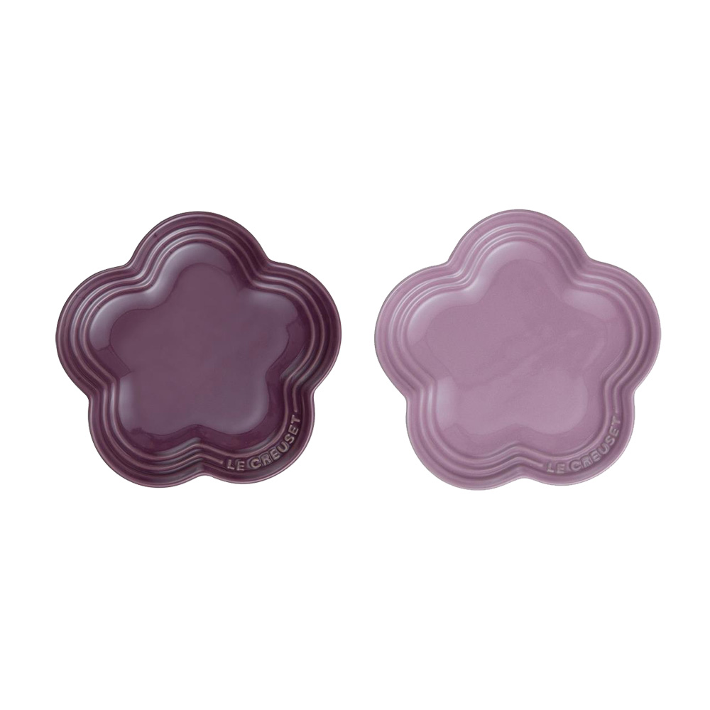 LE CREUSET 瓷器花型盤 (大) 2入 (深野莓紫)