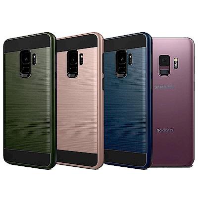 VXTRA 高仿金屬拉絲紋理 Samsung S9 雙料手機殼