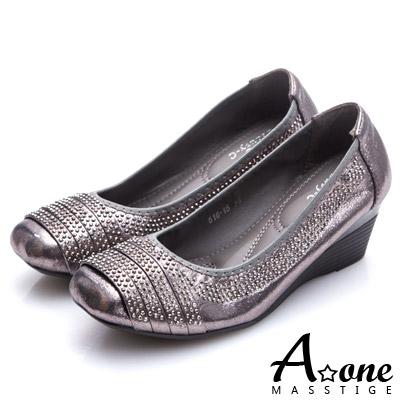 A-one-燙鑽拼接細帶方頭楔型跟鞋-灰色
