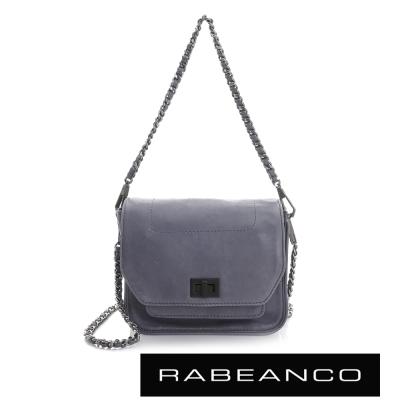 RABEANCO-迷時尚牛皮系列鍊帶雙層轉釦方包-小-暗灰