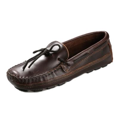 (男)MINNETONKA-Double Bottom休閒牛皮帆船鞋-深棕色