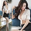 角色扮演 開衫綁帶制服+短裙性感秘書制服誘惑套裝(共二色)-天使波堤