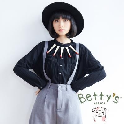 betty's貝蒂思 優雅復古百褶長袖襯衫(黑色)