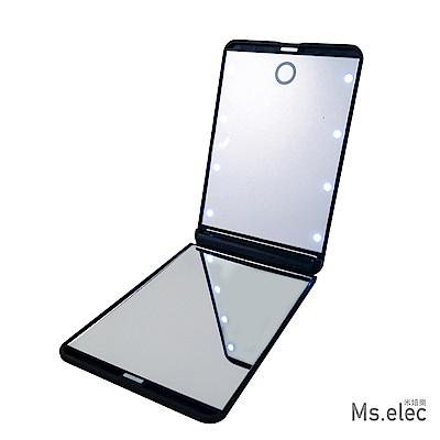 Ms.elec米嬉樂 LED觸控口袋化妝鏡 黑 小鏡子 隨身鏡
