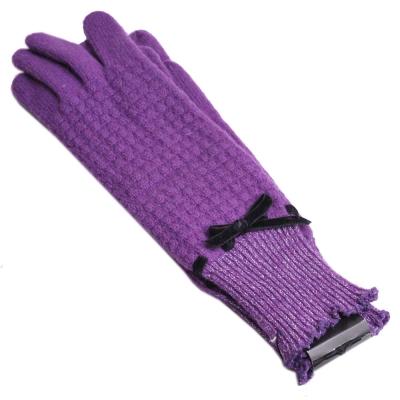 ANNA SUI 可愛蝴蝶結長版毛手套(紫)