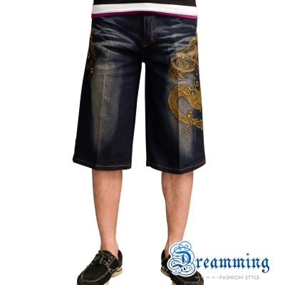 Dreamming Dragon日系膠印圖騰伸縮牛仔短褲