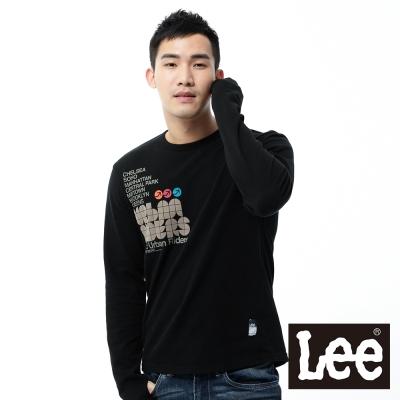 Lee-長袖T恤-三種文字燙印拼貼-男款-黑