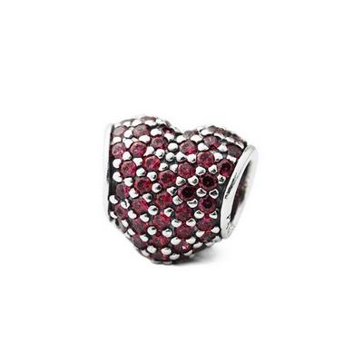 Pandora 潘朵拉 愛心型滿鑲紅色鋯石墜