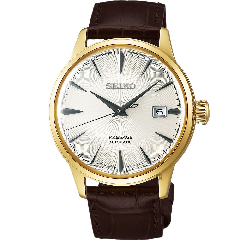 (無卡分期6期)SEIKO Presage 調酒師機械錶SRPB44J1-銀白x金框/40mm