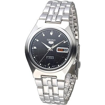 SEIKO 二代地球紋5號自動機械錶(SNKL71K1)-黑/37mm