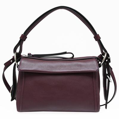MBMJ 側飾鐵牌牛皮肩背/斜背兩用包-荳蔻紫