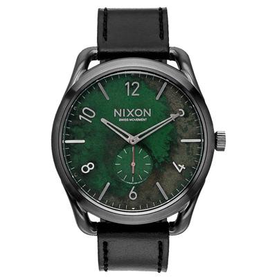 NIXON C45 LEATHER 跟隨自我潮流中性錶-青銅綠x黑x大/45mm