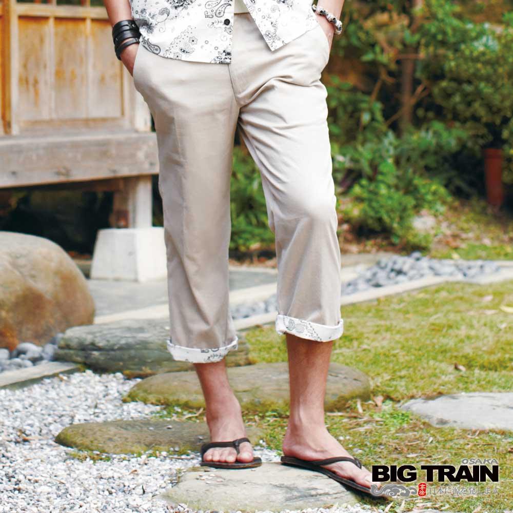 BIG TRAIN 惡童反折七分褲-男-卡其